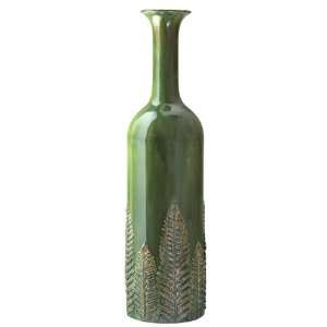 28 Green Botanical Fern Design Decorative Metal Vase