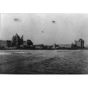 airplanes flying, boardwalk,ocean,beach,Atlantic City,New Jersey,NJ