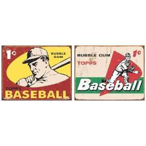 Nostalgic Topps Baseball Tin Metal Sign Bundle   2 retro