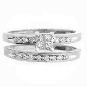 1/3 Carat Princess Round Diamond 14k White Gold Bridal Set Ring