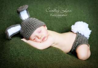 GRAY BUNNY☀ NEWBORN BABY BOY HAT/DIAPER COVER☀TOO CUTE