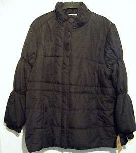 ROUTE 66 NWT WOMENS PLUS SIZE 3XL BLACK LONG BIG BUTTON PUFFER COAT