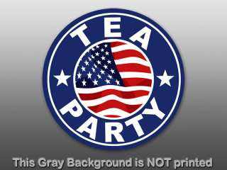 Round Tea Party With Flag Center Sticker   decal USA US