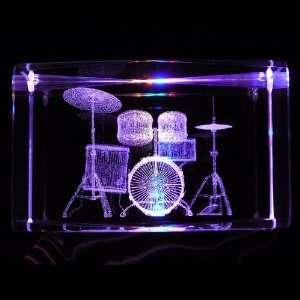 Drums Set 3D Laser Etched Crystal includes Two Separate LEDs Display