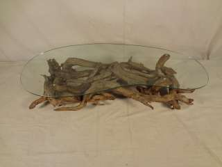 Mid Century Driftwood & Glass Coffee Table (00116)r.
