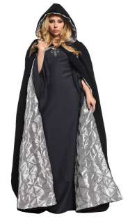 BLACK VELVET CAPE SATIN ROBE CLOAK PURPLE SILVER ROYAL KING QUEEN