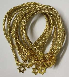 10 Israel STAR OF DAVID Jewish Judaica Charm GOLD String Kabbalah Wrap
