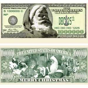 Bills  SantaBUCKS Claus Novelty Million Dollar Bills: Toys & Games