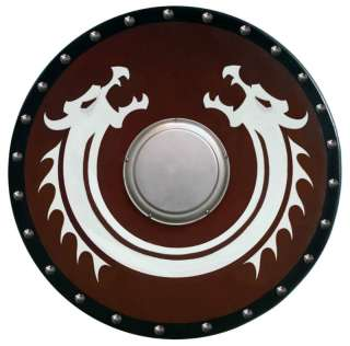 Round VIKING DRAGON SHIELD sca/larp/celtic/wooden/armor
