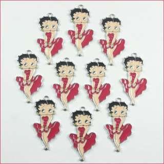 10pcs Betty Boop Metal Charm Pendants Crafts DIY Kids Gifts BIN