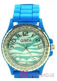 NEW SILICONE RUBBER JELLY WATCH BLUE ZEBRA RHINESTONE