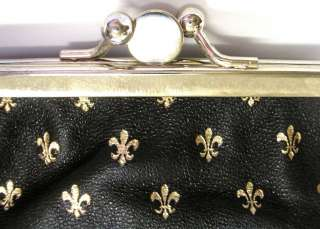 LARGE COIN PURSE ITALY GOLD TOOLED LEATHER FLEUR DE LYS NEW