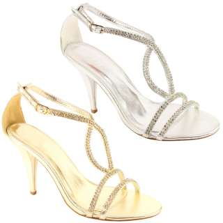 WOMENS DIAMANTE HEELS WEDDING PARTY SANDALS SHOES 3 8