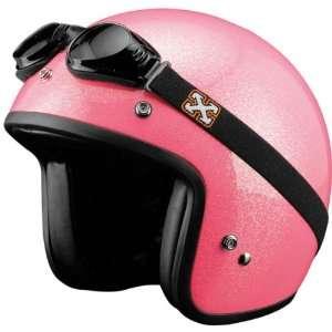 SparX Old School Bobber Open Face Pearl Motorcycle Helmet Sparkle Pink