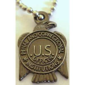 US Department of Corrections Prison Guard Mini Badge Pendant Necklace