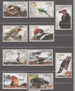 Zaire stamp set MNH FAUNA BIRDS cat 1110   1119