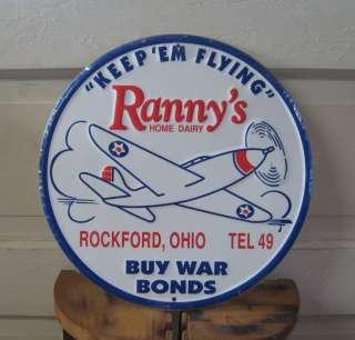 Dairy Buy War Bonds Old Advertising Metal Tin Sign VTG Wall Art