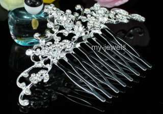 Bridal Wedding Flower Sparkling Crystal Quality Hair Comb T1179