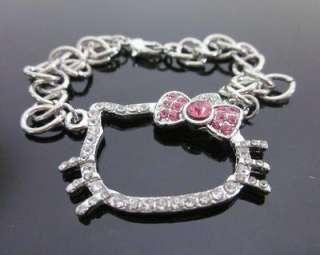 hello kitty KT pink bow bracelet crystal quality Z13