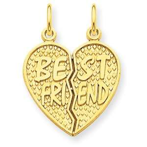 14k Yellow Gold Best Friend Break Apart Charm Jewelry