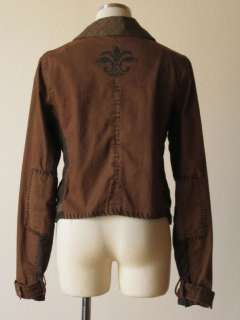 Anthropologie Free People green herringbone elbow patch crest button
