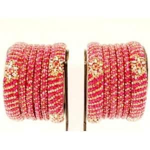 Indian Bridal Wedding Sultane Bangles Set of 8+4 (Dark Pink+ Gold) of