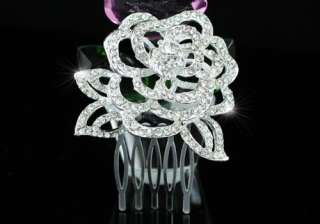 3D Rose Wedding Bride Silver Plated Hair Comb T1341