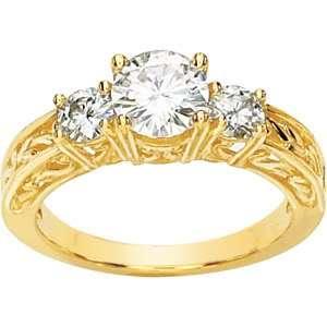 14KT BRILLIANT CUT SIMULATED DIAMOND THREE STONE RING