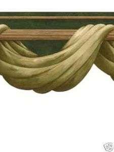 GREEN SWAG ON GOLD ROD LASER CUT WALL BORDER RK441B