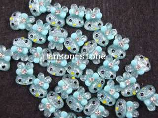 20pc Green Crystal Rabbit Head Rhinestones Nail Art Decoration