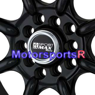 16 16x8 XXR 002 Black Rims Wheels Stance 5x114.3 Deep Dish Step Lip