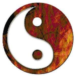 Yin Yang Symbol Counted Cross Stitch Pattern Brown Red