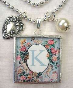 MONOGRAM INITIAL LETTER K 2 SIDED HEART CHARM NECKLACE