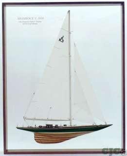 Framed Shamrock V Half Model Americas Cup J Boat w/Sail