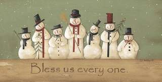 Bless Us Every One Snowman Christmas Framed Print Art