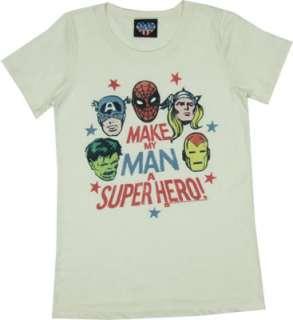 Make My Man A Super Hero   Junk Food Womens T shirt
