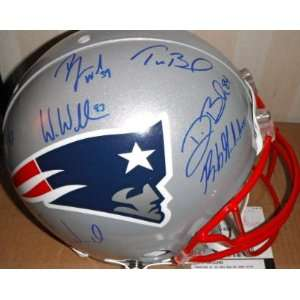 New England Patriots Stars Autographed Hand Signed Football Helmet