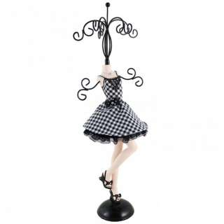 Black & White Plaid Cocktail Dress Jewelry Stand Dress Form Mannequin
