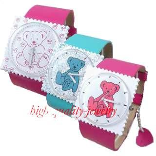 Fashion Leather Lovely Bears Women/Girl/Boy/Lady Unisex Quartz Caite