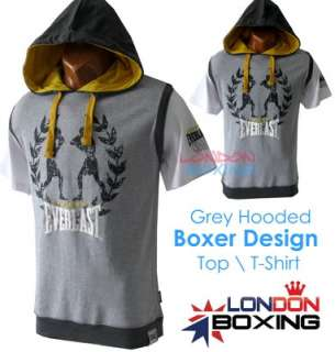 EVERLAST Boxing Mens Grey Hoody Hoodie Boxer Design T shirt ★ Size