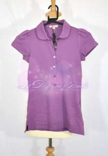 BN100%Auth Women Burberry Purple CHECK POLO SHIRT TOP XS S M L