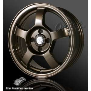 5 Spoke Racing Wheel Bronze JDM Style Rim 15 Inch 4x100