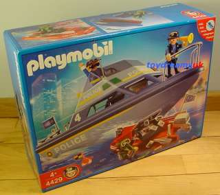 PLAYMOBIL POLICE BOAT Set Ship motor + Dinghy 4061 New