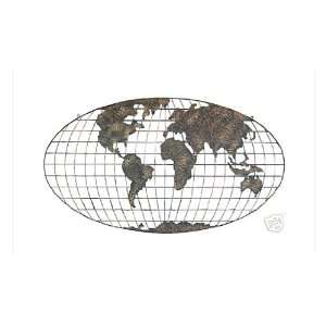 Large Metal Cut Out World Map Wall Decor