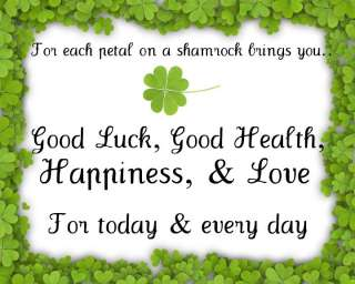 Four Leaf Clover Quote Wall Art St Patricks Day Print