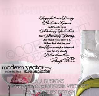 Marilyn Monroe Vinyl Wall Quote Decal IMPERFECTION