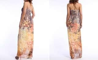 MOGAN Sublimation Floral Print Chiffon Smocked Tube Strapless Maxi