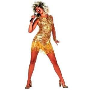 Tina Turner Fancy Dress Costume, Wig, Mic & Body Paint
