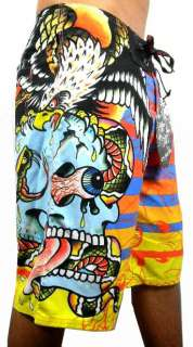 NEW ED HARDY MENS GRAPHIC BOARD SHORTS TRUNKS SKULL