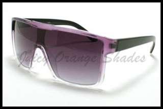 UNISEX SQUARED Retro FLAT TOP OVERSIZED Fashion Sunglasses WHITE To
